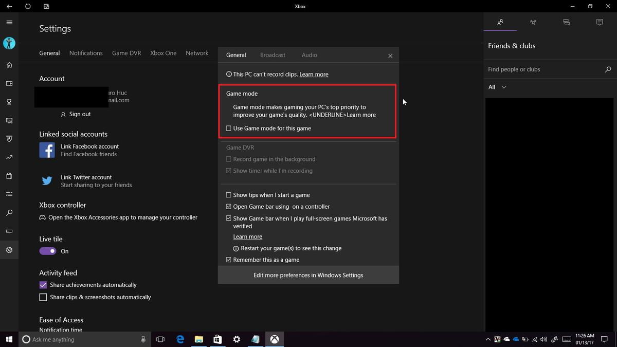 Windows 10, la nuova build contiene Game Mode
