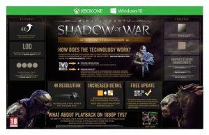La Terra Di Mezzo L'Ombra Della Guerra Infografica Xbox One X 4K Settings