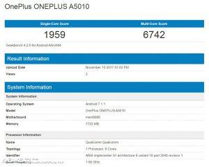 OnePlus 5T, Geekbench 4, Leak