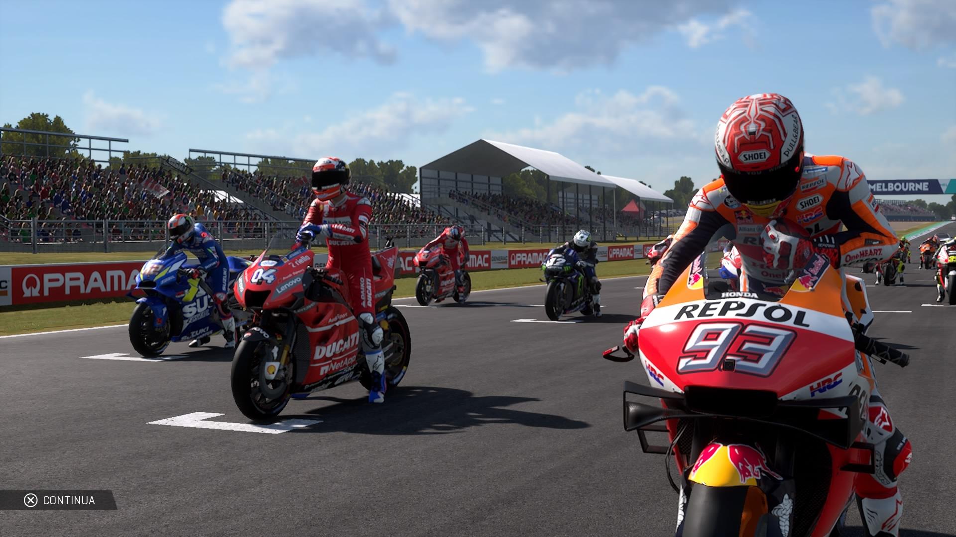 Moto GP 19 sulla griglia di partenza